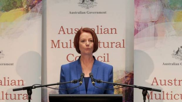 Prime Minister Julia Gillard introduces Frank Lowy at the Australian Multicultural Council lecture at Parliament House ...