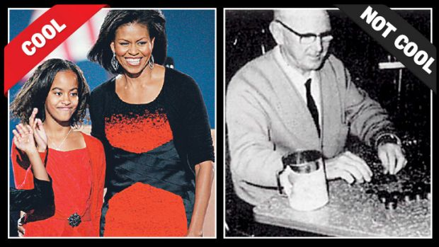Michelle Obama wears a black cardigan to her husband's presidential victory night in 2006, and an Australian tax officer ...