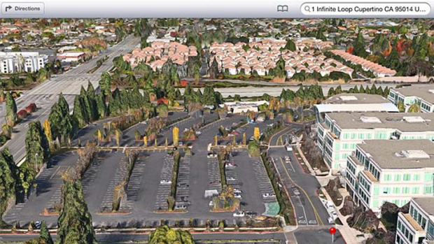 A 3D view of Apple's headquarters in Cupertino, Califorinia, as seen in Apple Maps in iOS 6.