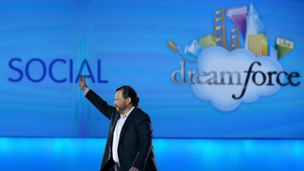 Salesforce CEO Marc Benioff delivers the keynote address during the Dreamforce 2012 conference at the Moscone Center on ...