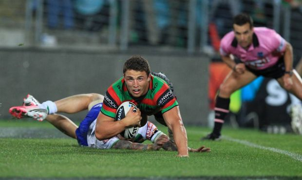 Sam Burgess scores for the  Rabbitohs against Canberra at the ANZ stadium.