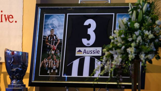 Remembered: Scenes in the church prior to the funeral for Port Adelaide and former Collingwood player John McCarthy.