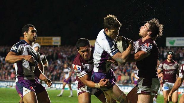 Fierce rivals ... Manly Sea Eagles and Melbourne Storm face off in tonight's preliminary final.