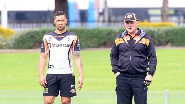 Confused ... Benji Marshall during training with coach Tim Sheens.