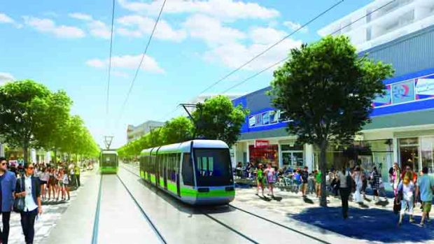 An artist's rendition of how light rail can transform shopping precincts and open up pedestrian areas.
