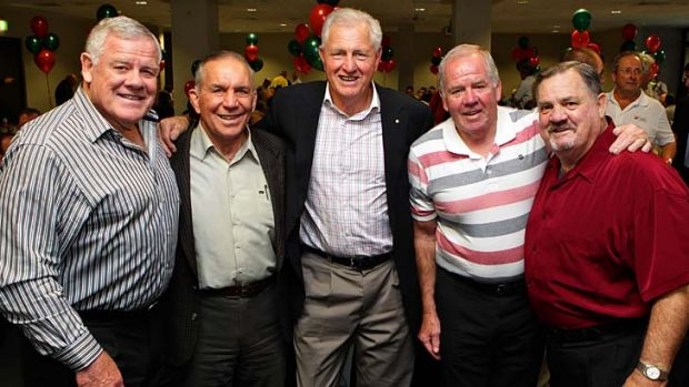 Records proud ... Rabbitohs legends gather at a lunch at South Sydney Leagues Club to commemorate the club's most capped ...
