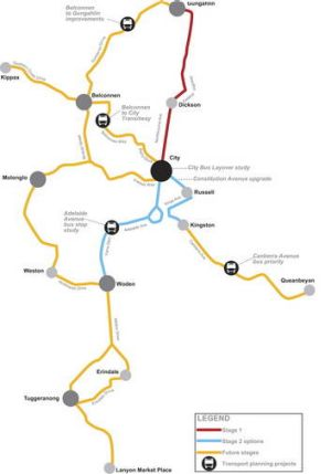 A map showing the proposed route of the Canberra light rail.