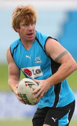 Cutting ties … Lance Thompson playing for Cronulla in 2006.