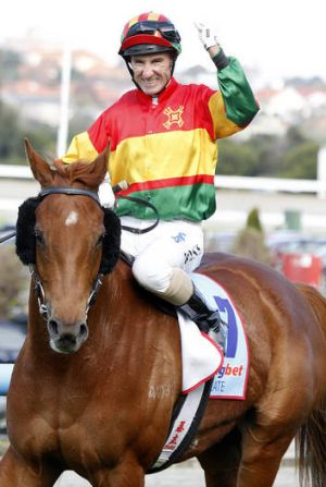 Hot to trot: Glen Boss rode a hat-trick at Moonee Valley last week, including a victory aboard Happy Trails (pictured).
