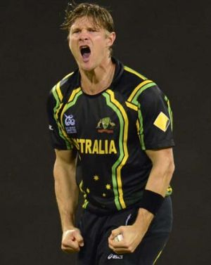 Relief ... Shane Watson after dismissing Chris Gayle.