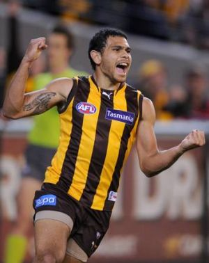 Key Hawk: Cyril Rioli celebrates a goal.