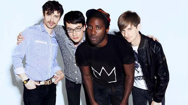 Energetic ... Bloc Party, with frontman Kele Okereke pictured third from left.