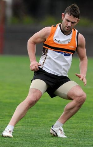 Brent Guerra has not played since injuring his kicking leg, his left, in the round-23 match.