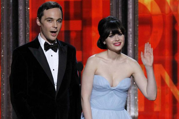 Presenters Jim Parsons and Zooey Deschanel.