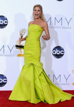 """Actress Julie Bowen, winner Outstanding Supporting Actress in a Comedy Series for """"Modern Family,"""" poses in the press ..."""