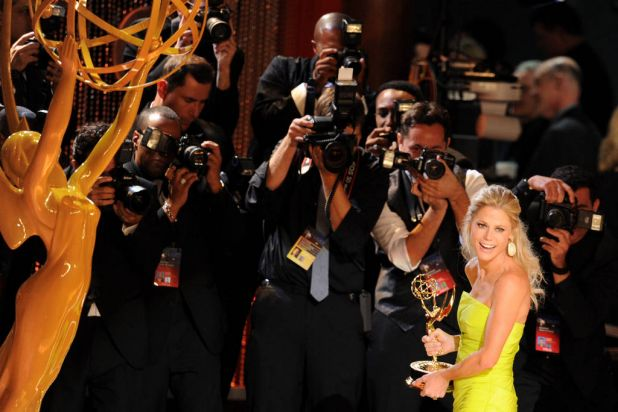 """Actress Julie Bowen accepts Outstanding Supporting Actress in a Comedy Series award for """"Modern Family"""" onstage during ..."""
