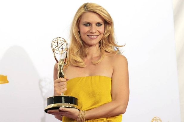 """Claire Danes holds the Emmy award for outstanding lead actress in a drama series for her role in """"Homeland"""" at the 64th ..."""