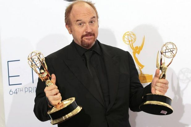 """Louis C.K. holds the Emmy awards for outstanding writing for a variety special for """"Louis C.K. Live at the beacon ..."""
