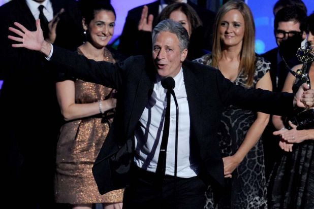 Jon Stewart and The Daily Show cast accept the award for Outstanding Variety, Music, or Comedy Series.