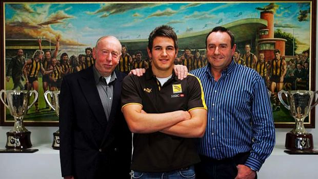 Three-time premiership coach John Kennedy senior (L) with Josh Kennedy (C), son of four-time premiership player John ...
