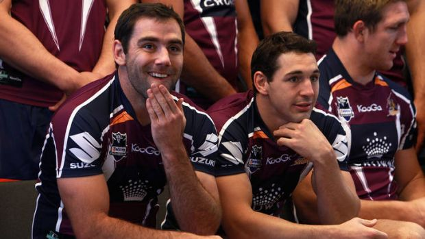 Seeing stars: Cameron Smith and Billy Slater at a team photo session yesterday.