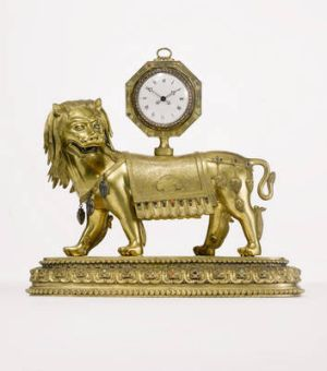 """An Important Imperial Chinese Gilt-Bronze Lion Clock Stand"" from the Qianlong Period (1736-1795)."