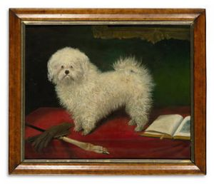 """A Maltese on a Red Table Cloth"" (late 19th century). The oil on canvas is estimated at $2500 to $3500."