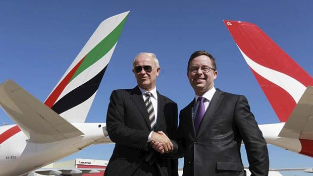 Emirates chief Tim Clark and and Alan Joyce from Qantas at the announcement of their partnership in September.