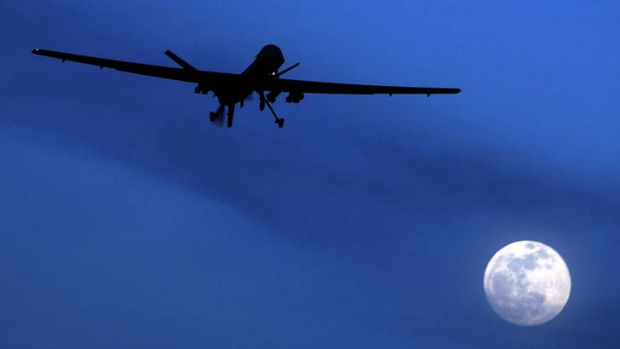 An unmanned US Predator drone flies over Kandahar Air Field, southern Afghanistan.