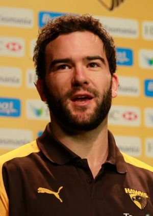 Hawthorn's Jordan Lewis at a press conference.