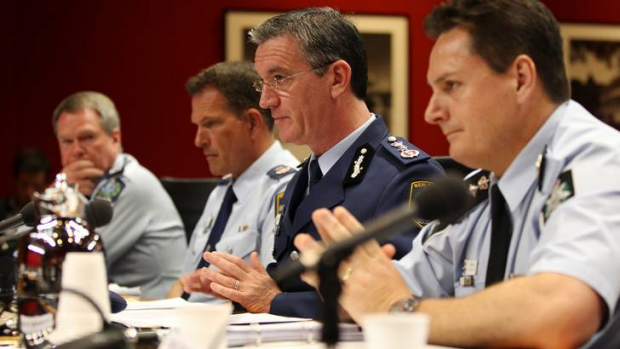 From right, AFP Police Commissioner Tony Negus,  NSW Police Commissioner Andrew Scipione, NSW Deputy Police Commissioner ...