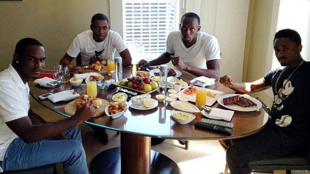 "Breakfast in Sydney ... Sadiki Bolt, ""Normi"", Usain Bolt and Christopher Martin."