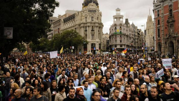 Anti-austerity demonstrators in Madrid.