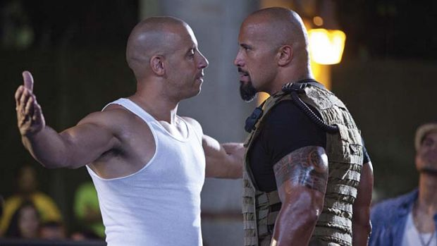 Bald but beatuiful ... Vin Diesel in a scene from <i> Fast and the Furious. </i>