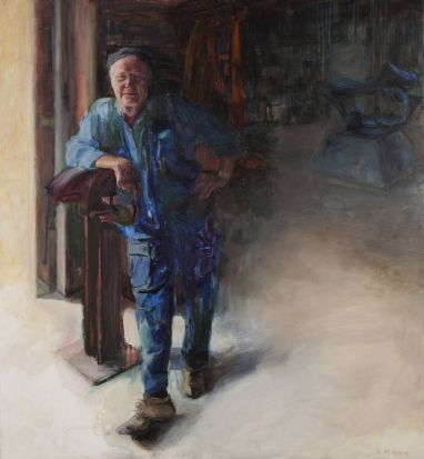 Kerry McInnis entered this painting for the Portia Geach prize. It is a portrait of metal sculptor, Michael Le Grand, ...
