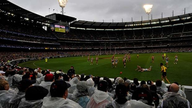 The wet and dark 2009 grand final between Geelong and St Kilda.