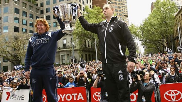 The scene last year, with Cameron Ling of the Cats and Nick Maxwell of the Magpies.
