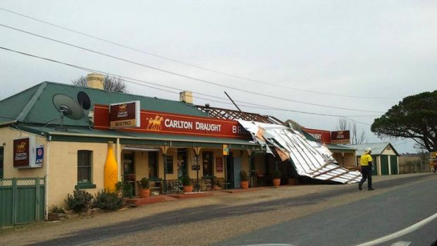 Reader Karen Jones sent in this picture of the Bredbo Inn Hotel this on Friday morning, which had its roof blown off.