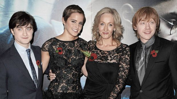 """""""I think I've wrapped his story up"""" … (from left) actors Daniel Radcliffe, Emma Watson, author J.K. Rowling and Rupert ..."""
