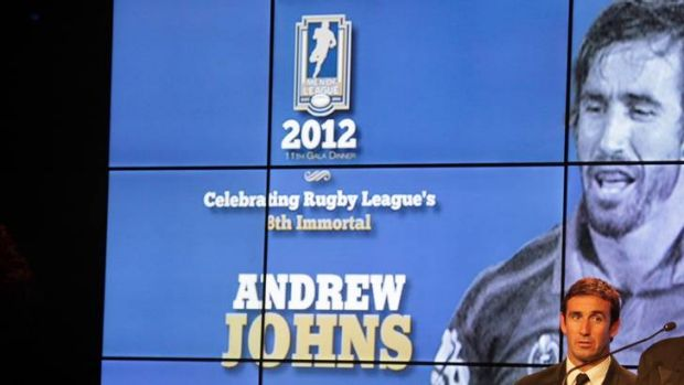 Andrew Johns at Thursday night's announcement.