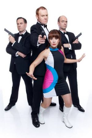 Michael Ward (left) and Stephen Hall (centre) in <i>Bond-a-Rama</I>.