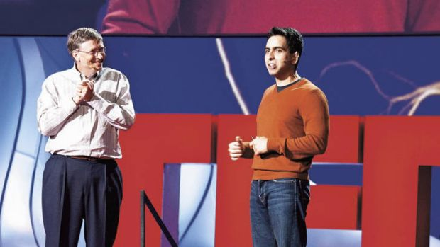 """""""Khan's impact on education might be truly incalculable"""" … Khan with Bill Gates at a TED conference in California last year."""