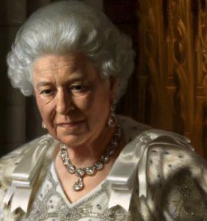 The Queen was wearing her coronation robes and Queen Victoria's diamonds for the Ralph Heimans portrait.