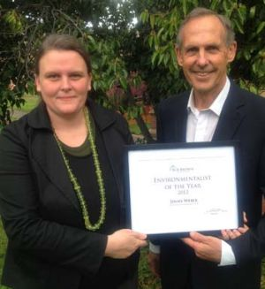 Inaugural Bob Brown Foundation environmentalist of the year, Jenny Weber, with the former Greens leader in Hobart.