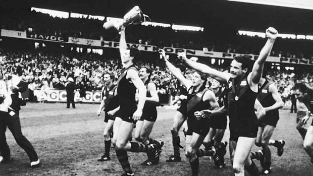 Heady days for a young Bomber. 1985 Grand Final Essendon v Hawthorn Paul Salmon holds aloft the premiership cup with his ...