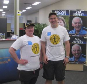 Opposition Leader Zed Seselja after his walk to work, with Brindabella Liberal candidate Nicole Lawder.