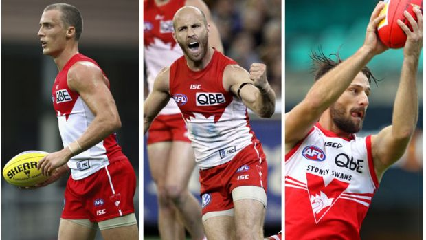 So close … Swans stalwarts Ted Richards, Jarrad McVeigh and Nick Malceski are yet to realise grand final triumph.