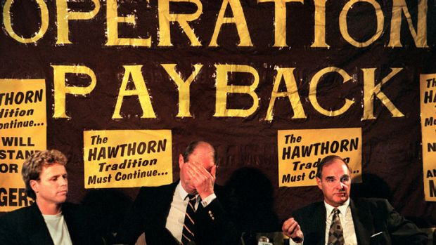 Hell hath no fury like footy supporters watching their club die — until they fought back. Big, bad Don Scott (centre) ...