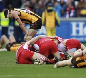 Agony and ecstasy: Luke Hodge in grief as Sydney celebrates.