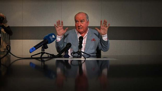 Manning up ... Alan Jones at his news conference yesterday.